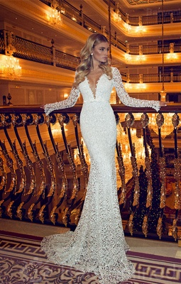 Forme Sirène/Trompette alayage/Pinceau train Col en V Dentelle Nouveau Robes de mariée sirène avec Dentelle_2