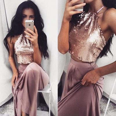 Chic robe de soirée deux pièces en haute pailleté jupe satin couleurs au choix_2