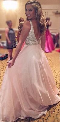 Forme princesse robe de soirée col en V en cristal et perle couleurs au choix_1