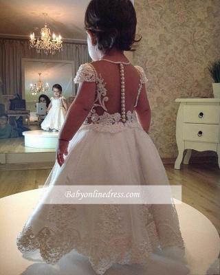 Forme Princesse Longueur cheville Col U profond Robes de demoiselle d'honneur - fillette avec Perles