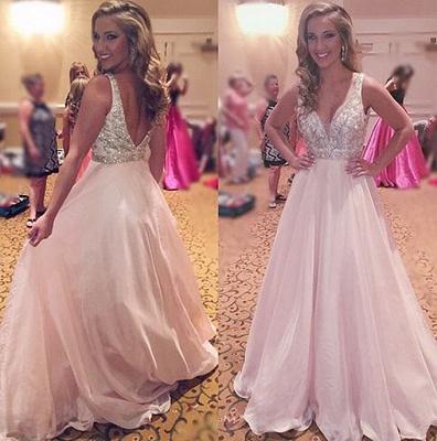 Forme princesse robe de soirée col en V en cristal et perle couleurs au choix_2