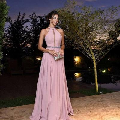 Forme Princesse Longueur ras du sol Dos nu Mousseline polyester Robes de bal avec Cristal_1