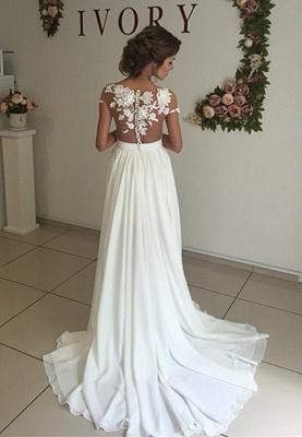 Robe de mariage robe de cérémonie élégante dentelle mousseline polyester boutonnage dans le dos_4