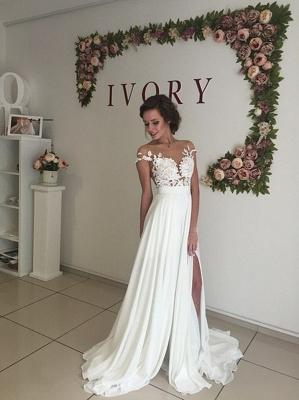 Robe de mariage robe de cérémonie élégante dentelle mousseline polyester boutonnage dans le dos_6