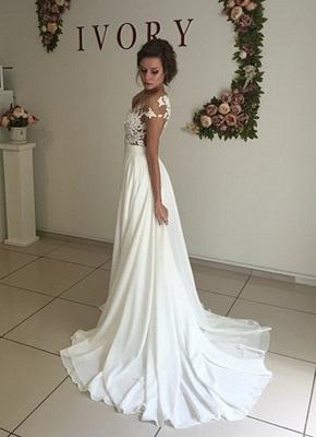 Robe de mariage robe de cérémonie élégante dentelle mousseline polyester boutonnage dans le dos_3