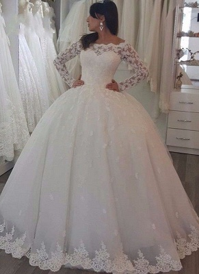 Robe de mariée princesse dentelle manches longues épaules nues | Robe de mariage princesse longue élégante_2