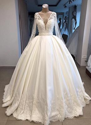 Robe de mariée princesse manches longues | Robe de mariage princesse dentelle élégante_3