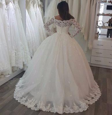Robe de mariée princesse dentelle manches longues épaules nues | Robe de mariage princesse longue élégante_4