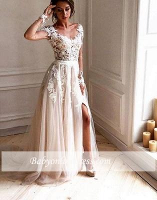 Forme Princesse Pinceau train Col U profond Robes de soirée avec Appliques_1