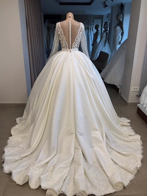Robe de mariée princesse manches longues | Robe de mariage princesse dentelle élégante_2