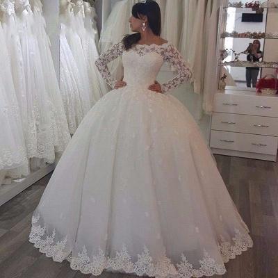 Robe de mariée princesse dentelle manches longues épaules nues | Robe de mariage princesse longue élégante_3
