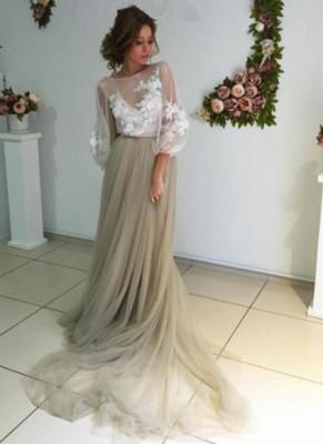 Chic robe de soirée tulle manche longue avec dentelle motif transparent_1
