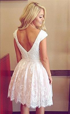 Robe de soirée robe blanche courte col rond devant col V dans le dos_2