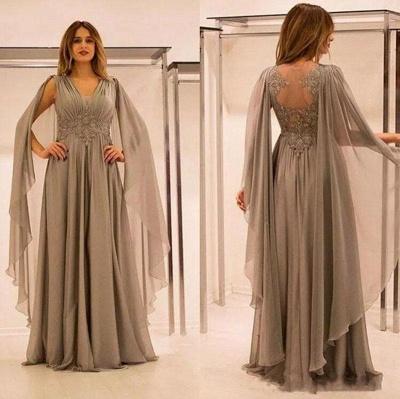 Robe mère de mariée A-ligne mousseline chic | Robe de soirée ligne A col en V_2