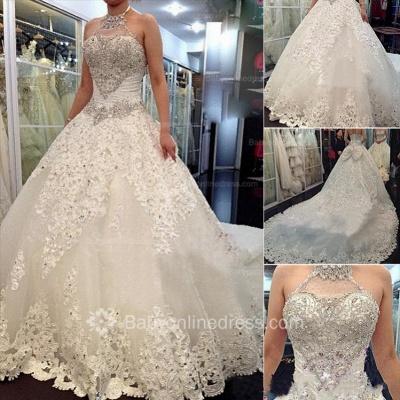 Forme Marquise Traîne mi-longue Dos nu Dentelle 2020 Robes de mariée avec Perle_2