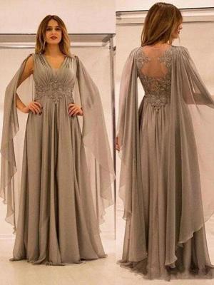 Robe mère de mariée A-ligne mousseline chic | Robe de soirée ligne A col en V_1