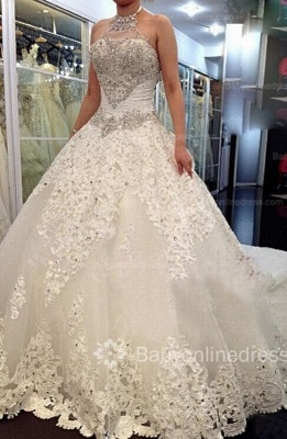 Forme Marquise Traîne mi-longue Dos nu Dentelle 2020 Robes de mariée avec Perle_1