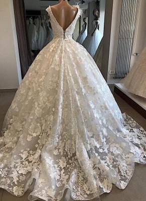 Robe de mariée princesse col en V | Robe de mariage princesse dentelle élégante_3