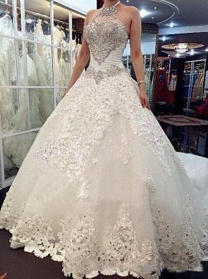 Forme Marquise Traîne mi-longue Dos nu Dentelle 2020 Robes de mariée avec Perle_3