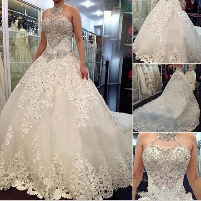 Forme Marquise Traîne mi-longue Dos nu Dentelle 2020 Robes de mariée avec Perle_5