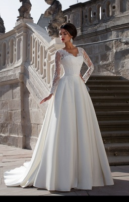 Robe de mariée dentelle | Robe de mariage élégante manches longues_1