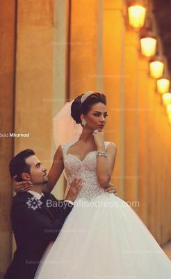 Forme Princesse Traîne moyenne Col en cœur Tulle 2020 Robes de mariée avec Dentelle_2