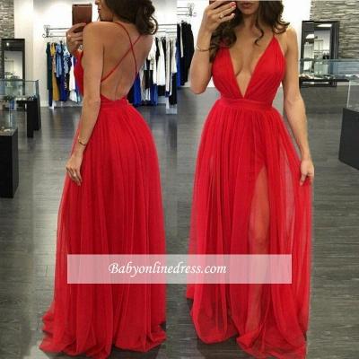 Robe de bal A-ligne tulle chic | Robe de soirée ligne A col en V_2