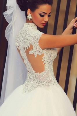 Forme Princesse Traîne moyenne Col en cœur Tulle 2021 Robes de mariée avec Dentelle_2