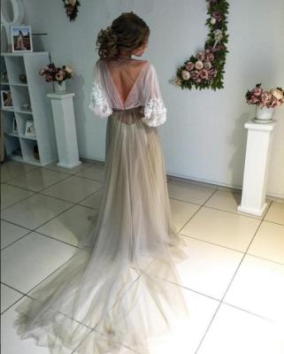 Chic robe de soirée tulle manche longue avec dentelle motif transparent_3