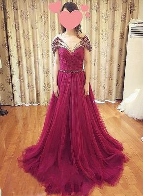 Forme musique robe de soirée élégante décolleté avec cristal longueur sol_4
