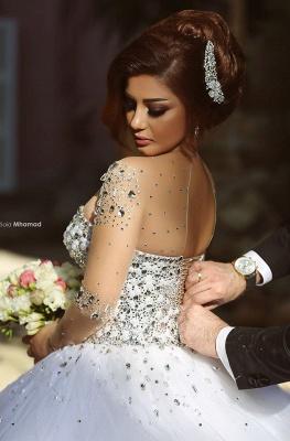 Forme Marquise Traîne mi-longue Col en cœur Tulle Robes de mariée avec Cristal_6