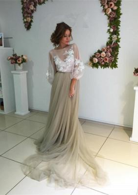 Chic robe de soirée tulle manche longue avec dentelle motif transparent_2