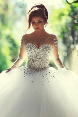 Forme Marquise Traîne mi-longue Col en cœur Tulle Robes de mariée avec Cristal_2