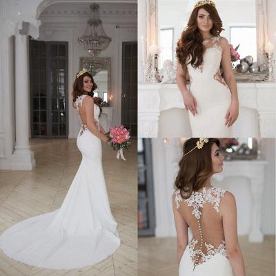 Forme fourreau robe de mariée en dentelle délicat dos nu transparente traine alayage_6