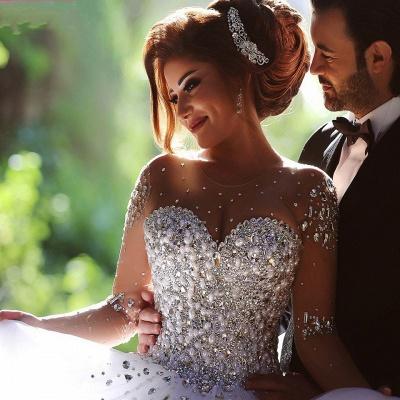 Forme Marquise Traîne mi-longue Col en cœur Tulle Robes de mariée avec Cristal_5