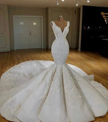 Robe de mariée sirène avec appliques | Robe de mariage trompette col en V_2