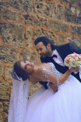 Forme Marquise Traîne mi-longue Col en cœur Tulle Robes de mariée avec Cristal_3