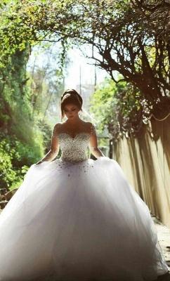Forme Marquise Traîne mi-longue Col en cœur Tulle Robes de mariée avec Cristal_7