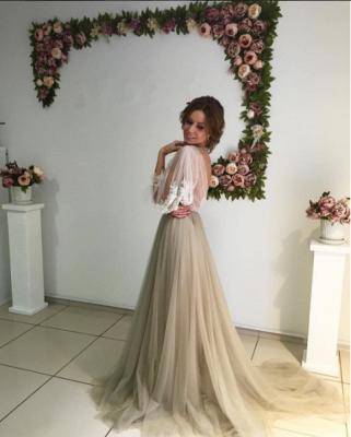 Chic robe de soirée tulle manche longue avec dentelle motif transparent_4