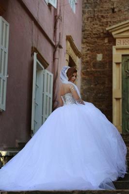 Forme Marquise Traîne mi-longue Col en cœur Tulle Robes de mariée avec Cristal_4