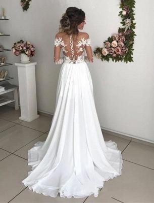 Robe de mariée princesse longue avec dentelle épaules nues | Robe de mariage longue_4