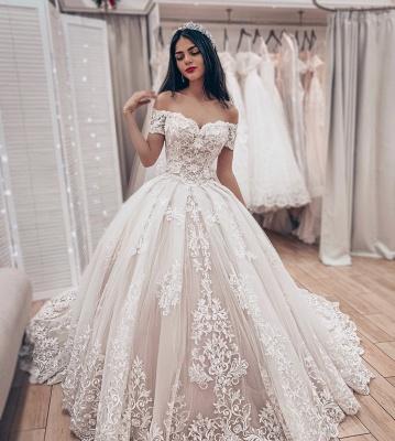 Robe de mariée princesse dentelle élégante | Robe de mariage princesse épaules nues_2