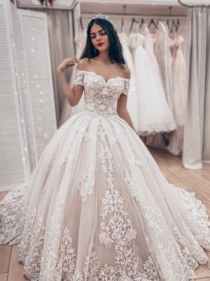 Robe de mariée princesse dentelle élégante | Robe de mariage princesse épaules nues_1