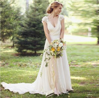 Forme Princesse Traîne moyenne Col en V Mousseline polyester Nouveau Robes de mariée A-ligne avec Fleurs_2