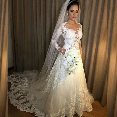 Robe de mariée A-ligne manches longues | Robe de mariage ligne A dentelle classique_2