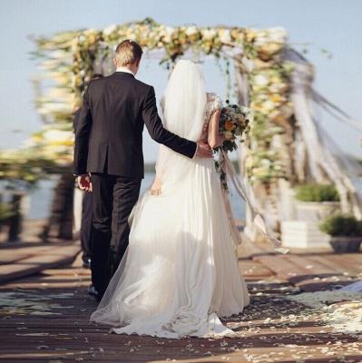 Forme Princesse Traîne moyenne Col en V Mousseline polyester Nouveau Robes de mariée A-ligne avec Fleurs_7