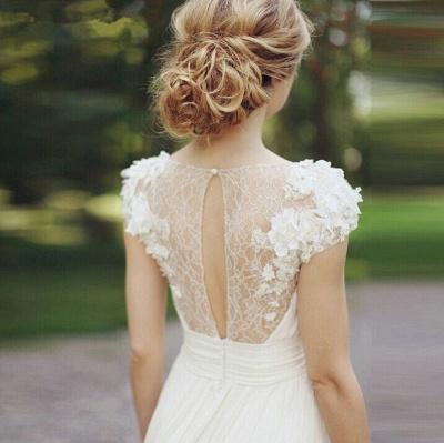 Forme Princesse Traîne moyenne Col en V Mousseline polyester Nouveau Robes de mariée A-ligne avec Fleurs_5