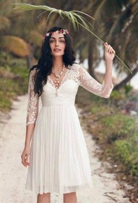 Robe dentelle robe de mariée robe mini mousseline polyester couleurs au choix_3