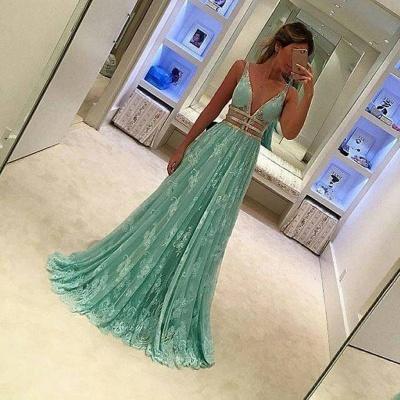 Forme princess robe de soirée col en V dentlle et tulle couleurs au choix longueur sol_2
