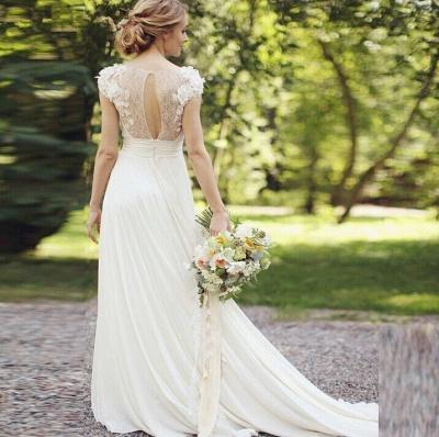 Forme Princesse Traîne moyenne Col en V Mousseline polyester Nouveau Robes de mariée A-ligne avec Fleurs_6